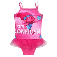 Wholesale Cheap Swimsuits Sale - 2017 Summer hot sale Kids Girls Cheap price High quality fabric Cartoon Enchanted Trolls swimsuit bikini TM2111
