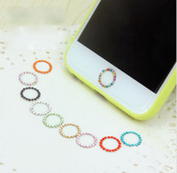 Wholesale Cell Phone Bling Stickers - 100PCS Colorful Crystal Bling Diamond Home Button Sticker for iPhone 7 6s Plus 5s Support Fingerprint Identification Cell Phone Accessories