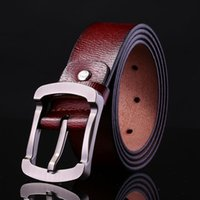 Vente en gros- Ceinture Hommes Luxe Big Pin Buckle Metal Cow Genuine Leather Brown Mens Designer Brand Belts High Quality Business Casual Strap 2017
