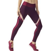 Wholesale Wine Leggings - 2017 Fitness Clothing Women Elastic Sporting Leggings wine red Color Stripe Print Workout Legging Push Up Leggins