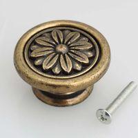 Wholesale Door Pull Handle Brass - dia 40mm antique brass drawer kitchen cabinet knobs pulls vintage bronze dresser door handles knob rustico retro furniture knobs