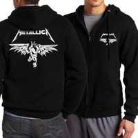 Wholesale heavy fleece jacket - Wholesale- 2017 new fashion hoodies men Classic Rock Heavy Metal Metallica sweatshirt zipper fleece fitness harajuku jacket plus size S-5XL