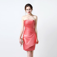 Wholesale Elastic Back Bridesmaid Dress - 2017 Free Shipping Sexy Prom Dresses vestidos de noiva Strapless Neck Off Shoulder Evening Gowns Mini Above Knee
