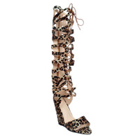 Zandina Wholesale Womens 10cm Wadge Heel Knee High Lace-up Summer Sandals Party Sapatos de baile Leopard XD134