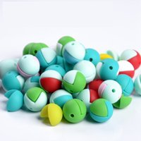 Wholesale Bracelet Half Beads - Silicone Teether Half Round Silicone Teething Beads Food Grade Baby Teething Beads Colorful Chewable Loose Beads DIY Necklace Bracelet
