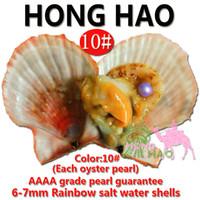 coquille d'huître arc-en-ciel achat en gros de-Rainbow shell pearl eau douce sous vide emballage huître perle, amour perle huître couleur différente perle mystérieuse surprise cadeau d'anniversaire 6-7