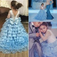 Wholesale Amazing Birthday - Amazing Flower Girl Dresses For Weddings Layered Organza Beads Bow 3 4 Long Sleeves Girls Pageant Dress Long Kids Party Birthday Gowns