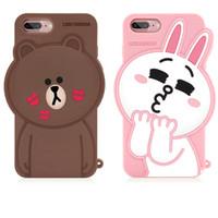 Wholesale Cute Korean Iphone Cases - 2017 Newest Korean Line Friend Brown Bear Cony Rabbit Cute 3D Sally Cartoon Bear Silicon Phone Cases For iPhone 6 6s 7 Plus