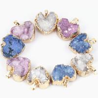 Wholesale Brass Items - Hot Items Heart Druzy Pendants Natural Quartz Druzy Gold Plated 3 Colors 5pcs a lot For Woemen