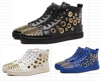 Wholesale shoes holes - 2017 new arrival men fashion red bottom sneakers high top real leather with holes rivets summer men fashion shoes casual sp