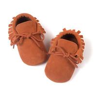 Wholesale pre walker boy shoes resale online - Newborn Baby Infant Boy Girl Tassel Scrub Shoes Toddler Soft Sole Crib Slip On Pre walker Infant Coral Velvet Moccasins LM75