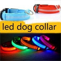 Wholesale Nylon Leash Dog Collars - LED Light Flashing dog pet collar Outdoor Luminous Night Safety Nylon Colorful necklace Leash Glow in the Dark battery version