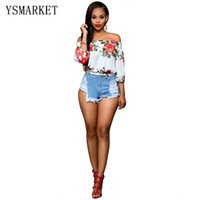 Wholesale Stylish Womens Tops - New Plus Size XL Stylish Womens Casual Top 2017 Top Selling Famale Sexy Sweet Floral Print Off The Shoulder Slim Fit Shirts 5205