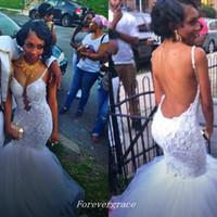 gold custom made wedding dress prices - Elegant Lace Wedding Dress Mermaid Spaghetti Strap Long Open Back Women Bridal Gown Plus Size Custom Made Vestido De Noiva Longo