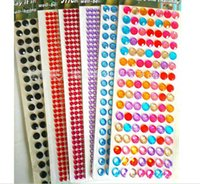 Wholesale Crystal Phone Sticker - Funny Colorful Crystal Acrylic Phone Stickers Hand Book Diary Stickers Decorative Phone Paster Baby Bedroom Wall Decals