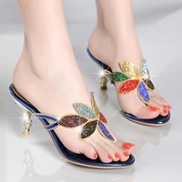 Wholesale Ladies Low Heel Rhinestone Sandals - New Fashion Women's High heels Sandals Genuine leather Ladies Rhinestone shiny slippers gorgeous Party Shoes Pumps Woman Flipflop Sandals