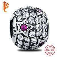 BELAWANG Atacado Real 925 Sterling Silver CZ Big Hole Beads The Star Charms Bead Fit Pandora Charm Bracelet Authentic Jewelry Making Gift