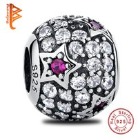 BELAWANG Vente en gros Real 925 Sterling Silver CZ Big Hole Beads The Star Charms Bead Fit Pandora Charm Bracelet Authentic Jewelry Making Gift