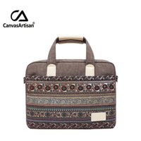 Wholesale Apple Computer Laptop New - Band new 14 '' retro style canvas bag unisex handbags business notebook briefcase for laptop 14 inch apple laptop bags