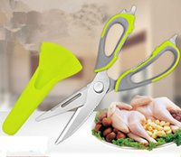 Wholesale magnetic kitchen knives - Kitchen scissors knife for fish chicken household stainless steel multifunction cutter shears free shipping with magnetic cover