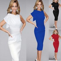 Wholesale Plus Size Womens Summer Wear - Womens Elegant Ruffle Sleeve Ruched Party Wear To Work Fitted Stretch Slim Wiggle Pencil Sheath Bodycon Dress fashion dress plus size S-5XL