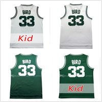Wholesale Hot Birds - Hot sale Men's #33 larry bird white green kid's 2017 New Basketball Jerseys Free Drop Shipping 100% Stitched jersey