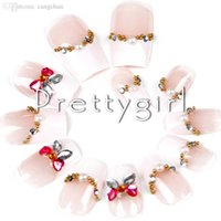Großhandel-2545 ladys Nude Pink Glittery Nails Tipps Red Bow Designed Fake Nails Tipps Französisch Finger Nail Tools Sets