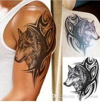 Wholesale Wholesale Water Temporary Tattoo - 10pcs Water Transfer fake tattoo Waterproof Temporary Tattoos sticker men women wolf tattoo flash tattoo 12*19cm