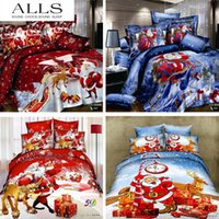 Wholesale Christmas Red Duvets - Wholesale- christmas bedding set 100% cotton 3d oil painting bed linen duvet cover red duvet cover flat sheet pillow case queen size
