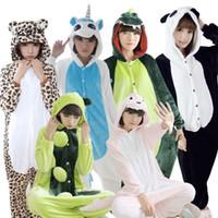 Wholesale Minion Pajamas For Girls - Warm adults flannel Pajamas for women girl cosplay Pijama animal Onesies Pyjamas Sets sleepwear Robe Panda Minion