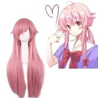 Wholesale Mirai Nikki Wig - The Future Diary Yuno Gasai 80cm Long Pink Straight Anime Cosplay Wig Mirai Nikki