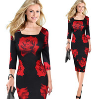 Wholesale Sexy Plus Size Pencil Dresses - 2017 High Quality Women Clothing Floral Print Red Rose Skirt Casual Dress Sleeve Dresses Sexy Pencil Skirt Plus Size Free Shipping 3999