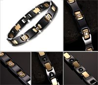 ingrosso braccialetto di ione del braccialetto-21 centimetri negativi negativi Ion Ceramic IP placcatura Golden Healthy braccialetto magnetico del braccialetto Bio elementi Germanium braccialetti Trend Gioielli B828S