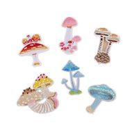 Wholesale Mushroom Jacket - 6 styles Mushroom stickers full Embroidered Badge Iron on Patches Stickers Motif Applique Garment Jacket DIY accessory