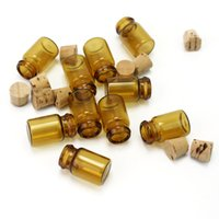 Wholesale Brown Glass Bottles Cork - Wholesale- 10Pcs Mini Brown Empty Glass Bottles Wishing Bottle Message Vials Jars With Cork Stopper Crafts Jewelry Containers