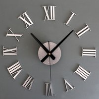 Wholesale Diy Wall Clock Metal - Wholesale- New Metal Chic DIY Adhesive Silver Vintage Roman Numeral Number Wall Clock 3D Home Decor Living Room