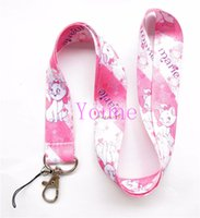 Wholesale phone charms characters - Free shipping 20Pcs lot Pink Cute Marie Cat Necklace Strap Lanyards Cell Phone PDA Key ID Strap Charms
