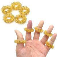 akupunktur fingermassage ring großhandel-Fingermassagering Elastische Fingerakupunktur Massagegerät Kreis Körpermassage Gesundheitswesen Edelstahl Handmassagegerät Fingerentspannung