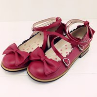 Wholesale Brown Lolita Shoes - New 2016 LOLITA low round with cross straps bow cute girls princess tea party shoes women flats students lovely shoes size 34-40