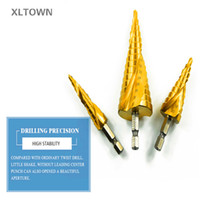 Wholesale Step Drill Spiral - Xltown 3pcs 4-12 20 32mm HSS Spiral Grooved Center Drill Bit Solid Carbide Mini Drill Accessories Titanium Step Cone Drill Bit