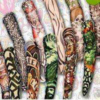 tatuaje enfriador de mezcla al por mayor-12 unids mezcla envío gratis elástico falso tatuaje temporal manga arte 3D diseños cuerpo brazo pierna medias tatoo fresco