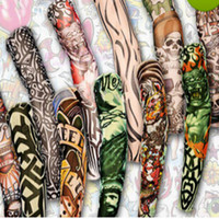 Wholesale Fake Tattoo Arm Sleeve - 12pcs mix Free shipping elastic Fake temporary tattoo sleeve 3D art designs body Arm leg stockings tatoo cool
