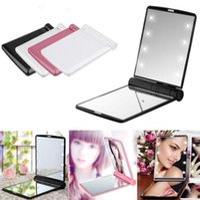Wholesale led mini lights - Portable Mini Compact Lighted LED Makeup Mirror Cosmetic Pocket Folding with 8 LED Lights 6 Colors OOA3466