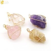 CSJA Moda Irregular Amethyst Citrine Pink Crystal Rose Quartz Handmade Gold Wire Wrap Colar Pingente Mulheres Natural Stone Jewelry E153