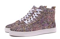 Top Sneakers de luxe pour hommes Pink Purple Glitter High Top Lace-up Red Bottom Sneakers pour hommes / femmes Party Wedding Casual Shoes Loubs Red Sole