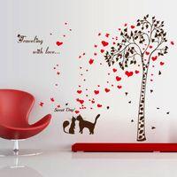 Wholesale Tree Window Art Decals - Wholesale Cat Love Under Tree DIY Vinyl Wall Sticker Decals Wall Art Mural Home Decor Window Kitchen Wallpaper