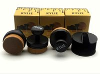 Wholesale Foundation Seal - 50pcs New kylie brush Sealed Push and pull style powder brush Cosmetics foundation contour brush with gold box Makeup brushes in stock