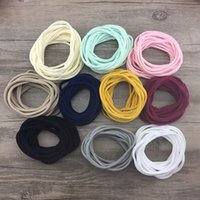 Wholesale Thin Baby Headband Wholesalers - 100pcs lot New Super Soft traceless Stretchy thin skinny Nylon Headbands for Baby Girls kids base headband Infant hair accessory