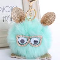 Wholesale Lovely Gifts For Lover Girl - Lovely Owl Faux Rabbit Fur Ball Keychain For Women Fluffy Animal Rabbit Pompom Pendant Key Rings Key Holder Bag Ornaments Gifts