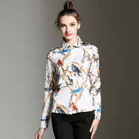 Wholesale Bird Pattern Blouse - Tree Branches Birds Pattern Printing Women Shirts Trend Female Elegant Fashion Long Sleeve Vintage Casual Blouse